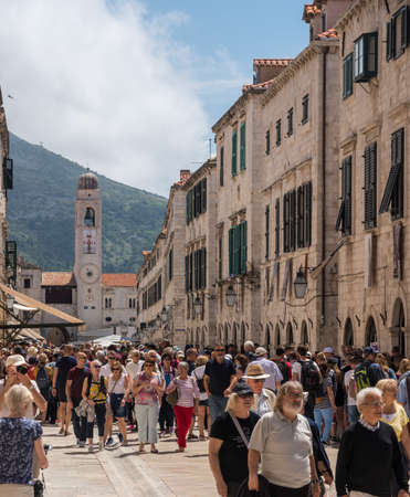 Dubrovnik, Croatia - 22 May 2019: Crowds of tourists in the old town as overtourism becomes an issue across Europe
