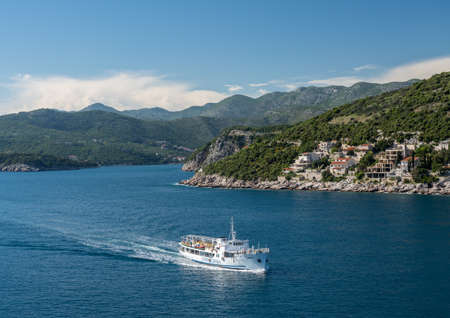 Dubrovnik, Croatia - 22 May 2019: Jadrolinja Ferry boat arriving at the Dubrovnik cruise port Editorial