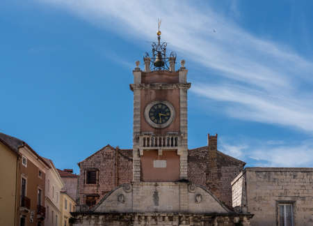 Guard house and clock tower in the ancient old town of Zadar in Croatia
