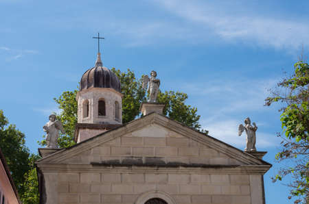 Statues on St Church of our Lady of Health in the old town of Zadar in Croatia