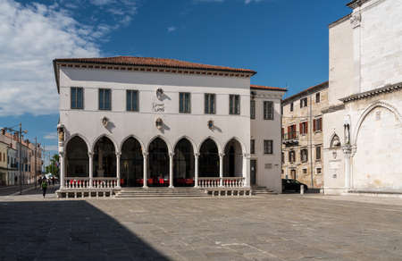 Koper, Slovenia - 24 May 2019: Facade of the Loza palace in the old town of Koper in Slovenia Editorial