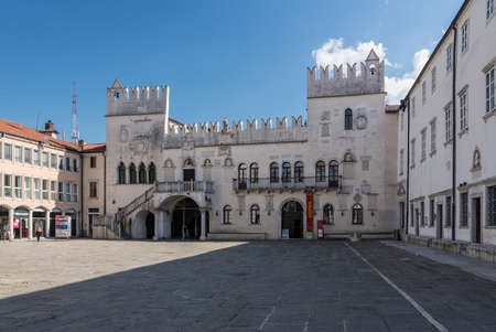 Koper, Slovenia - 24 May 2019: Facade of the Praetorian palace in the old town of Koper in Slovenia Editorial