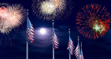 Composite of multiple firework explosions against dark blue sky with row of Stars and Stripes flags for Independence day celebrations