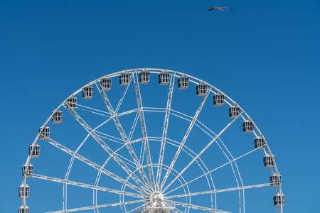 White ferris wheel on Steel Pier in Atlantic City on the New Jersey coast