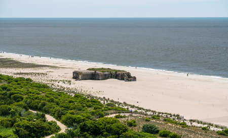 World war 2 concrete bunker on beach at Cape May Point in New Jersey
