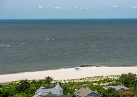 Empty beach scene on the coast at Cape May Point in New Jersey