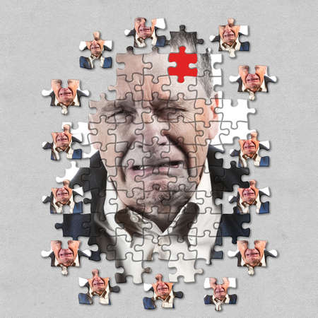 Front view and face of senior caucasian man afraid of mental illness, dementia or Alzheimers disease using jigsaw concept