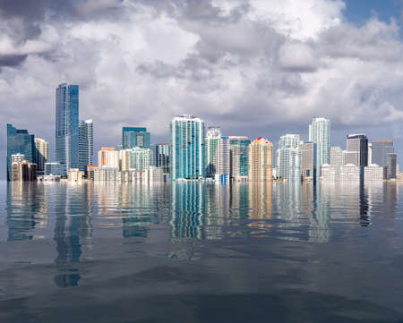 Miami Florida cityscape skyline with concept of sea level rise and major flooding from warming or hurricane damage