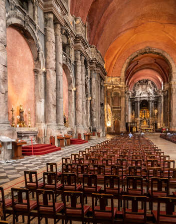 Lisbon, Portugal - 8 August 2019: Interior of Sao Domingos church in Lisboa which was badly damaged by fire in 1959