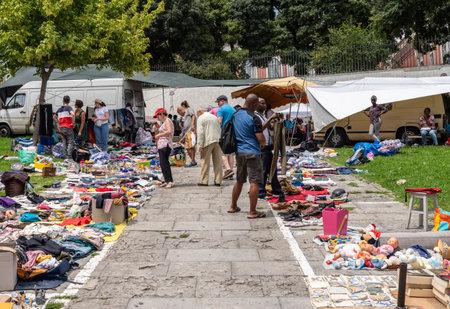 Lisbon, Portugal - 10 August 2019: Popular street market in Santa Clara near the National Pantheon