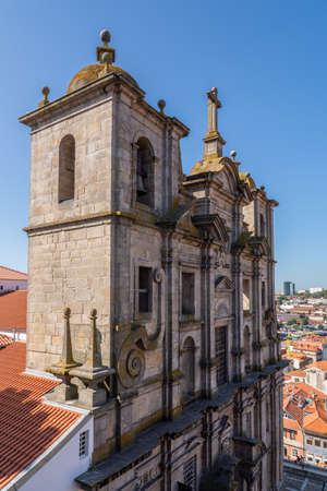 Front entrance of Sao Lourenco church over downtown Porto in Portugal