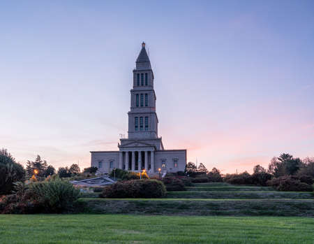 Alexandria, VA - 4 November 2019: Sunset at the George Washington Masonic National Memorial