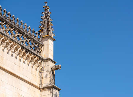 Exterior of the gothic stone structure of the Batalha Monastery near Leiria in Portugal