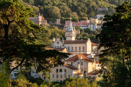 Sunset view of the Portuguese town of Sintra with the spectacular town hall in the foreground