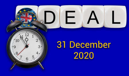 Alarm clock over deal concept between UK and the EU over trade relationship after December 31, 2020 Stock Photo