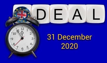 Alarm clock over deal concept between UK and the EU over trade relationship after December 31, 2020 Stok Fotoğraf