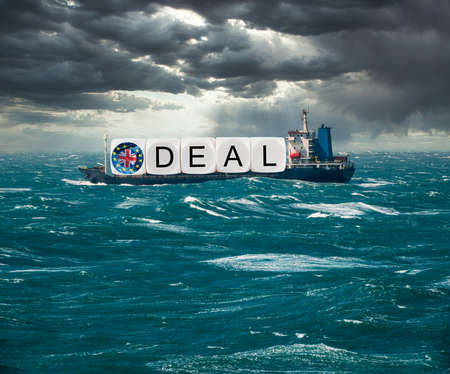 Global trading with container ship carrying Brexit deal concept for December 2020 if no trade deal with EU happens and no deal exit results