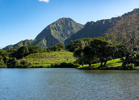 Steep tree covered mountain ridge rises above the Hoomaluhia Botantical Gardens on Oahu