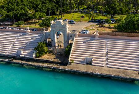 Overhead aerial view of Waikiki Natatorium War Memorial on Oahu in Hawaii