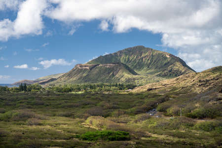 View inside the crater of the extinct volcano called Koko Head on Oahu in Hawaii