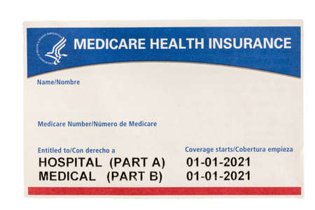 Blank and empty unfilled USA medical insurance medicare card isolated against a white background