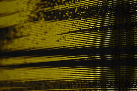 Yellow Dots Glitch Matrix Burned effect RGB LED Pixel Pitch - Color Mixing LEDS. Perspective view SMD Technology Screen Display