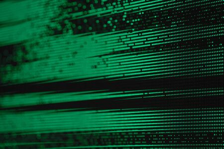 Light Green Dots Glitch Matrix Burned effect RGB LED Pixel Pitch - Color Mixing LEDS. Perspective view SMD Technology Screen Display