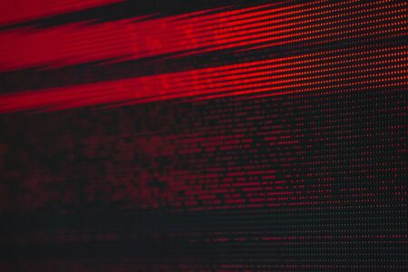 Red Dots Glitch Matrix Burned effect RGB LED Pixel Pitch - Color Mixing LEDS. Perspective view SMD Technology Screen Display Stock Photo