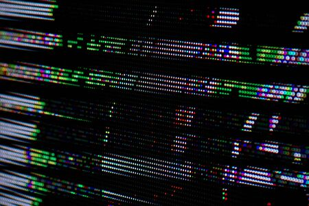 Dots Glitch Matrix Burned effect RGB LED Pixel Pitch - Color Mixing LEDS. Perspective view SMD Technology Screen Display_