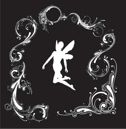 silueta de angel: silueta del �ngel con la frontera floral (formato de los eps del vector)