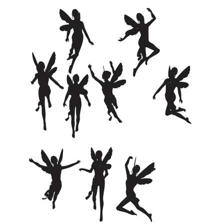 fairies: silhouettes of black angels (vector format)