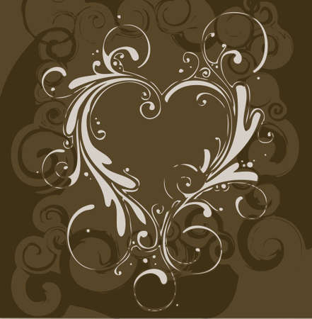 brown floral background decoration with heart (vector format) Vector