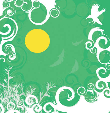andamp: green andamp,amp, white floral background with sun andamp,amp, flying hawk silhouette (vector format)