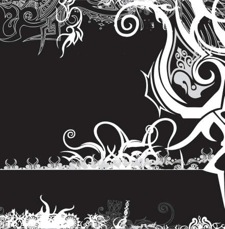 black andamp,amp, white retro floral background Vector