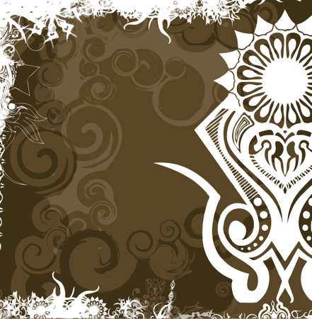 andamp: light andamp,amp, dark brown background with modern flower (vector format)