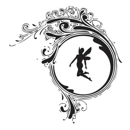 silueta de angel: antiguo elemento floral con silueta de �ngel negro (formato vectorial eps)