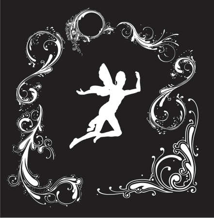 angel silhouette with floral border (vector format) Vector
