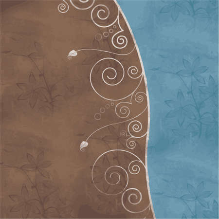 brown-blue background with floral design (vector format) Illustration