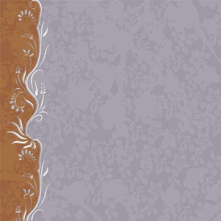format: brown-blue background with floral design (vector format) Illustration
