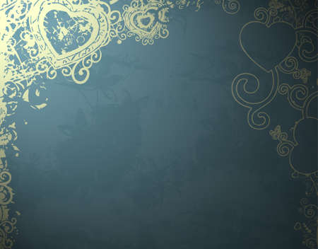 blue floral background decoration with heart photo