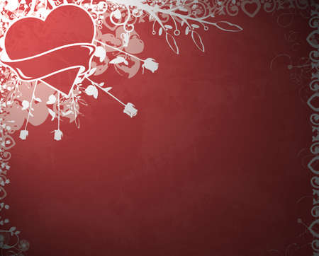 red floral background decoration with heart photo