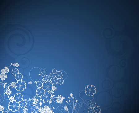 light & dark blue background with flower bouquet