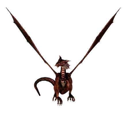 isolated dragon flying on white background - 3d render