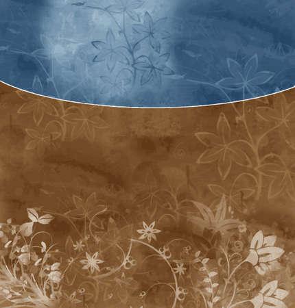 フォーマット: ブルーブラウン花の背景 (ベクトル形式)  イラスト・ベクター素材