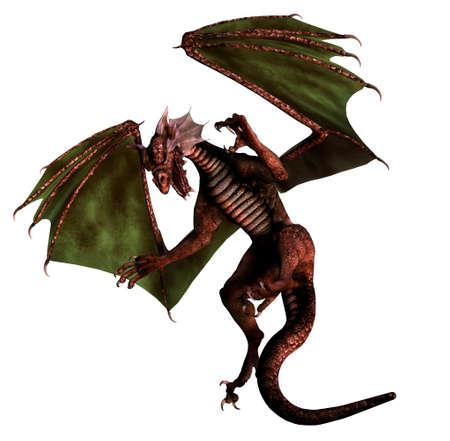 dragones: vuelo aislado del drag�n en el fondo blanco - 3d rinden