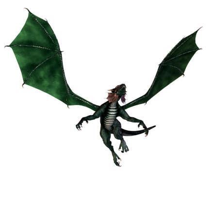 isolated dragon flying on white background - 3d render photo