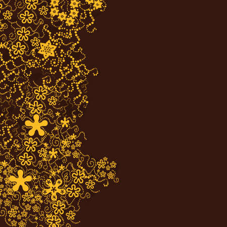 brown background with little flowers (vector eps format) Illustration