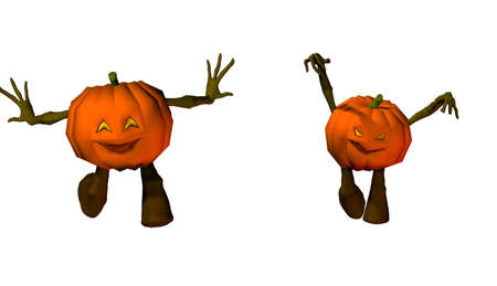 isolated halloween pumpkins illustration Stock Photo