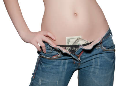 girl in jeans with an unbuttoned his pants Stock Photo - 8338208