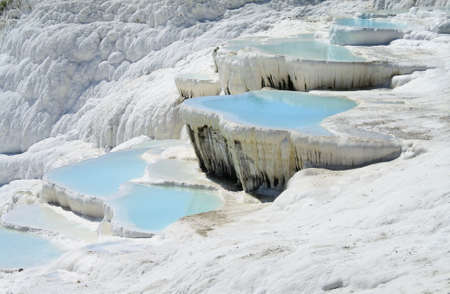 travertine: Pamukkale, is a natural site in Denizli Province in south-western Turkey. Stock Photo